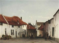het straatje: daily activities in a village street by jan weissenbruch