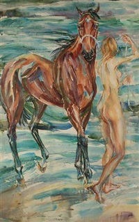 venus's departure from beach by horse by jack lawrence miller