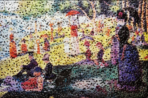 a sunday on la grande jatte after georges seurat gordian puzzles by vik muniz