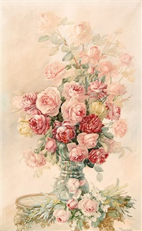 pink roses in a glass vase by isidore rosenstock