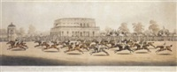 panoramic view of british horse racing, the race for the st. leger of 1812 on doncaster course by clifton tomson