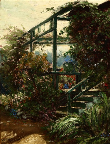 in an old garden the artists garden pacific grove by william adam