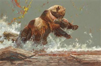 a grizzly bear with his catch by dennis anderson