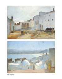 arabs in a north african coastal town (+ arabs in a quiet square; pair) by charles théodore (frère bey) frère