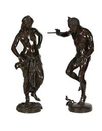 le charmeur de serpent (+ odalisque; pair) by charles arthur bourgeois