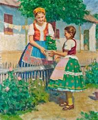 lányok muskátlival, 1942 by janos laszlo aldor