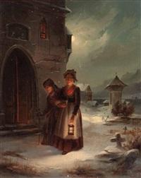 zwei frauen beim abendlichen kirchgang im winter by elisabeth modell