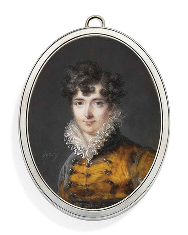 a young lady in brown velvet coat with buttons and frogging frilled lace upstanding collar dark hair dressed in curls by louis françois aubry