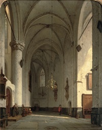 a sunlit church interior, st. bavo haarlem by jan jacob schenkel