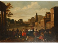 vegetable markets with roman buildings and figures (pair) by hendrick mommers