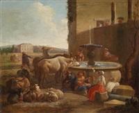 lagernde hirten mit vieh an einem brunnen by jan van ossenbeeck