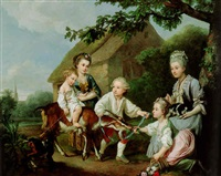 family in a landscape with a goat and two dogs by johann christian von mannlich