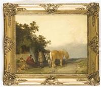 hirtenfamilie mit tieren vor ihrer hütte by george morland