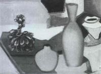 bodegon de ceramica y frutas by juan alcalde