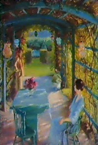 two women in an arbor by lydia field emmet