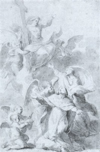 saint louis supported by angels kneeling before christ by thomas blanchet