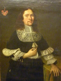 half length portrait of a gentleman, standing with shoulder length hair, moustache, wearing a flat lace collar, tassles, ruffled sleeves by pieter nason