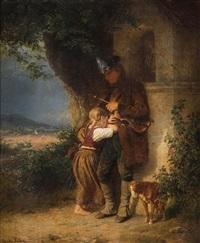 wandermusiker mit weinendem mädchen vor einem marterl by richard sohn