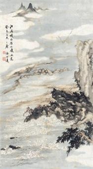 秋江雁影图 (flying geese across autumn river) by xu bangda