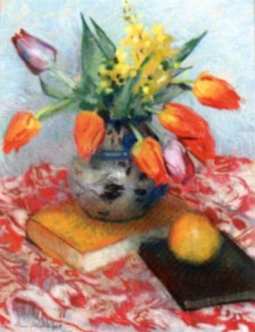 still life with tulips by lena alexander