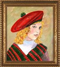young girl in a red beret by josef dubiel von lerach
