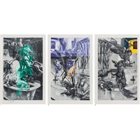 1. divine symbol, 2. success in the ambition, 3. let's go ghost (3 works) by tadanori yokoo