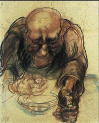 suppe loffelnder mann by elfriede lohse-wächtler