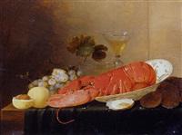 nature morte: fruits, raisins, verres, homard dans un plat et huitres voisinant sur un entablement by pieter van overschee