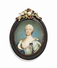 maria-antonia-walpurgis, hereditary electress of saxony (1724-1780), in pale green silk dress with pink lining, ermine-trimmed blue cloak by anton raphael mengs