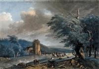 voyageurs au bord d'une rivière surpris par une bourrasque by antoine pierre mongin