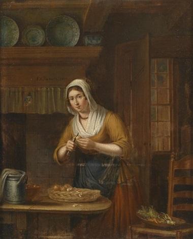 schwester des gillis v h beim äpfelschälen in der küche by elisabeth alida van haanen