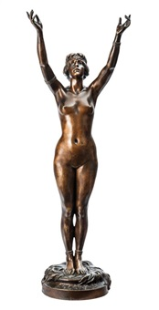 naked maiden with her arms outstretched by paul eugène breton