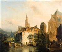 église près de la rivière by jan baptiste tetar van elven