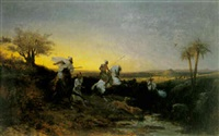 wild boar hunt on the plains of oudja, morocco by alfred couverchel
