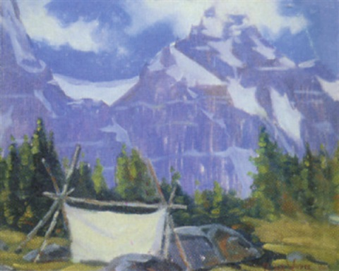 untitled mountain view with sketching tent by peter whyte