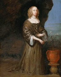 portrait of lady anne woodhouse wearing a brown dress, holding flowers in her right hand by abraham staphorst