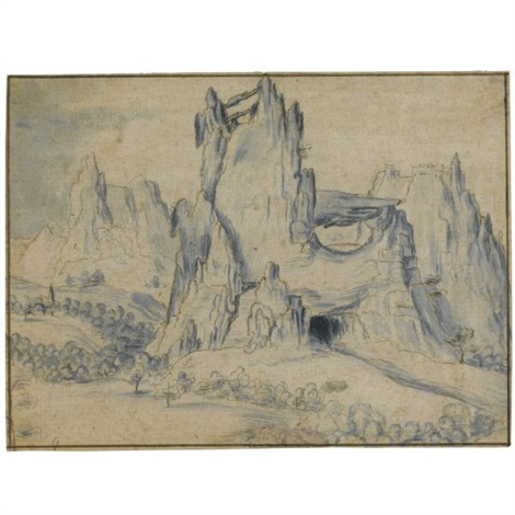 rugged mountain landscape by jan van scorel