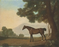 lord clermont's bay racehorse johnny, in a wooded landscape, with a lake and hills beyond by george stubbs