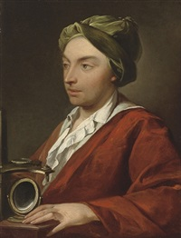 portrait of a gentleman, in a red robe and green cap by domenico corvi