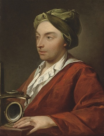 portrait of a gentleman in a red robe and green cap by domenico corvi