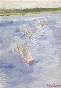 drei ruderboote auf weiter flusslandschaft by vladimir yakovlev