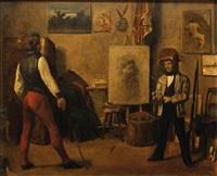 la leçon de canne dans l'atelier de l'artiste by eugène van gelder