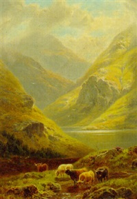 cattle in a highland landscape by william davies