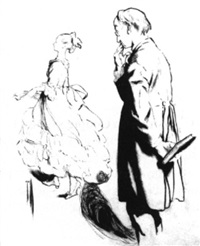 schoolmaster watching a young woman walk gracefully by by rose o'neill