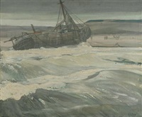 a beached fishing boat by richard edward miller