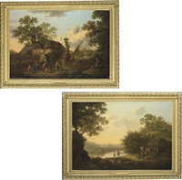 hop pickers, in a cottage yard (+ apple pickers; pair) by george smith of chichester