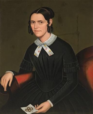 portrait of a woman; portrait of a man (pair) by ammi phillips