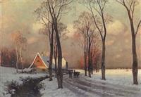 abendsonne über winterlandschaft mit bauernhaus by curt leopold