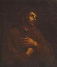 heiliger franziskus, in brauner mönchskutte, die hände mit den wundmalen auf der brust verschränkt und blick zum himmel gerichtet, sein haupt von einem zart leuchtenden nimbus umgeben by anonymous-italian (17)
