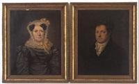 portraet af en dame in gr+ silkekjole og en herre i sort frakke (pair) by niels moe